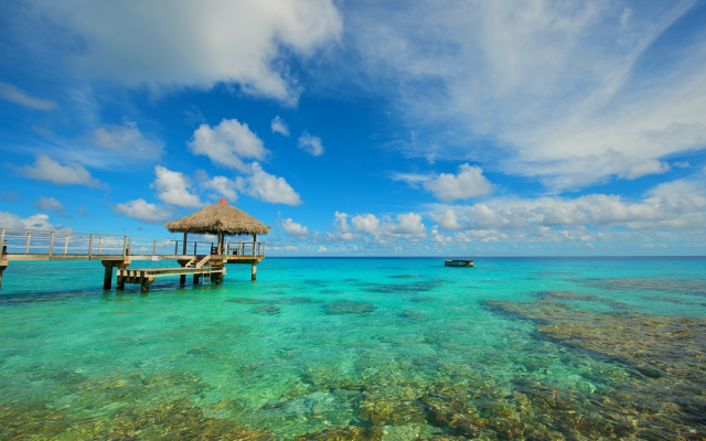 2480x1647 pix. Wallpaper rangiroa, atoll, french polynesia, topics, boat, sea, ocean, nature, pier, clouds, nature