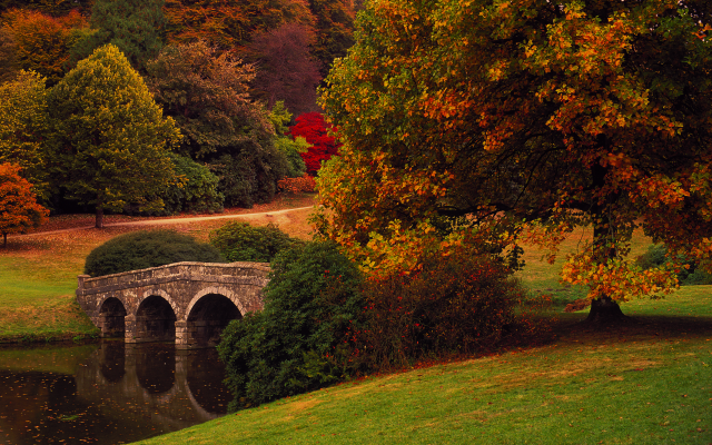 3800x2539 pix. Wallpaper stourhead, stourton, england, autumn, park, bridge, nature, tree