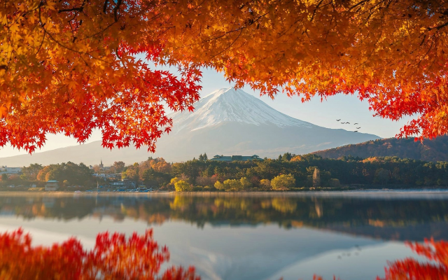 1920x1080 pix. Wallpaper japan, autumn, beautiful, nature, mountains, fuji, mount fuji, reflection