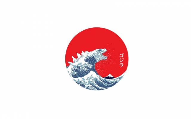 1920x1080 pix. Wallpaper Japan, The Great Wave off Kanagawa, waves, minimalism
