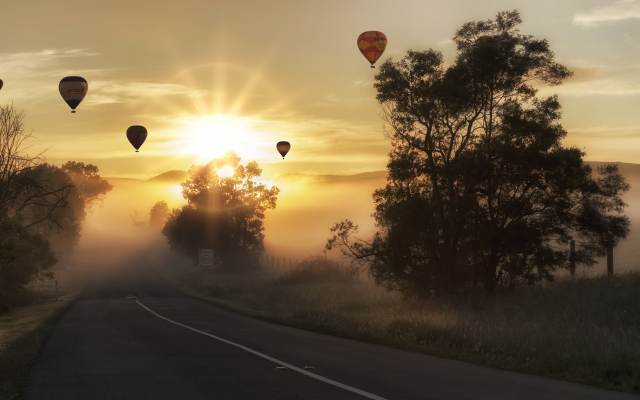 5462x3072 pix. Wallpaper sunrise, road, balloon, trees, fog, nature, hot air balloon