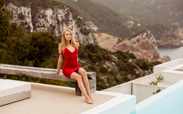 2929x1801 pix. Wallpaper nancy a, model, women, red dress, mountains, legs, bench, sea