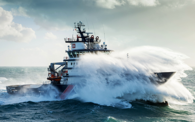 4000x2250 pix. Wallpaper sea, storm, ship, waves, french navy, emergency towing vessel, abeille bourbon, brittany, france