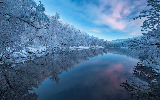 1920x1280 pix. Wallpaper winter, river, nature, snow, frost