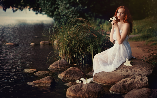 4000x2667 pix. Wallpaper white dress, redhead, dress, river, flowers, rocks