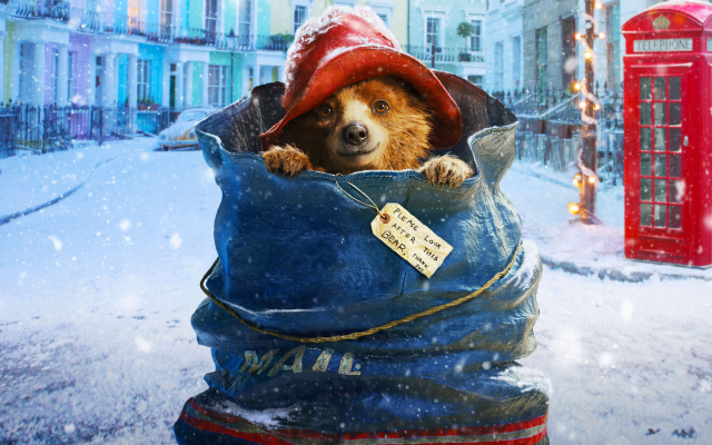 2880x1800 pix. Wallpaper bears, snow, Christmas, blue clothing, Red Hat, cute animals