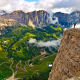 sella group, chain, Dolomites, Italy, nature, mountains, clouds wallpaper