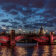 bridge, london, england, united kingdom, clouds, night, river wallpaper