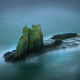 landscape, nature, mist, island, rock, sea, blue, fog wallpaper