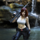 cosplay, women, model, gun, water, waterfall wallpaper