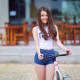 women, Asian, smiling, women with bikes, jean shorts wallpaper