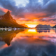 landscape, nature, midnight, Sun, sky, Norway, summer, fjord, village, mountain, island, clouds, sea wallpaper