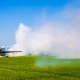 airplane, smoke, field, grass, aircraft, avia wallpaper