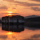 Bulgaria, water, Sun, reflection, clouds, lake, old building, ruin, church, hill, nature, landscape wallpaper