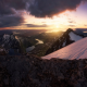 Norway, mountains, nature, landscape, clouds, sunset, snow, fjord wallpaper