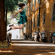 women, jumping, brunette, street, lights, bicycle, autumn, dress wallpaper