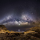 Milky Way, galaxy, long exposure, moon, starry night, sea, stars, nature, landscape, space wallpaper