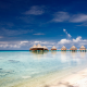 French Polynesia, atolls, island, beach, nature, landscape, sea, clouds, tropical, bungalow, ocean wallpaper