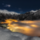 Alps, mountains, snow, Italy, lights, stars, clouds, nature, landscape, evening wallpaper