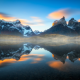 Torres del Paine, Chile, nature, mist, landscape, sunset, mountains, lake, reflections, snowy peaks wallpaper