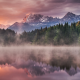 Germany, lake, forest, fog, mist, mountains, snowy peak, sunrise, reflection, landscape, nature wallpaper