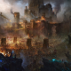 artwork, fantasy art, battle, Siege, castle, army, fire wallpaper