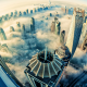 dubai, clouds, skyscrapers, world, fog, sea, city wallpaper