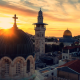 Jerusalem, sky, sunset, cross, Holy City, church wallpaper