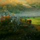 mist, autumn, forest, fence, grass, horse, rock, tree wallpaper