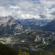 Banff National Park, mountains, panorama, valley, town, river, Canada, nature, landscape wallpaper