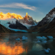 lake, glacier, sunrise, mountains, snow, ice, nature, argentina wallpaper