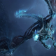 dragon, flying, night, wings, Dragon Wings, teeth, claws, tail, blue, fantasy art wallpaper