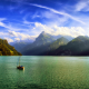 mountains, clouds, Alps, Switzerland, sailboats, nature, lake wallpaper