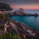 sunset, Italy, sea, coast, turquoise, water, rocks, calm, nature, landscape wallpaper