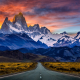 road, mountains, sunset, snowy peak, Argentina, sky, clouds, nature, landscape wallpaper