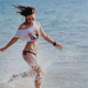 women, sea, running, smile, water, belly wallpaper
