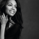 Zoe Saldana, women, actress, brunette, smiling, monochrome wallpaper