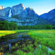 Yosemite National Park, waterfall, river, grass, mountains, nature, landscape wallpaper