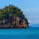 sea, boat, rock, limestone, krabi, thailand, tropical, nature wallpaper