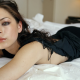 Kristin Kreuk, eyes, portrait, face, lips, dress, in bed wallpaper