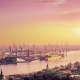 Hamburg, port, river, sunset, nature, germany, Lomography, lomo wallpaper