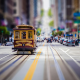 San Francisco, city, street, tilt shift, tram, usa wallpaper
