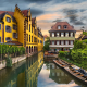 colmar, france, city, canal, boat, water, reflections, urban, architecture wallpaper