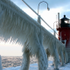 winter, storm, ice, lighthouse, sea wallpaper