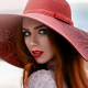 women, faces, portraits, red lipstick, redhead, hats, rear view, open mouth, sensual gaze, blue eyes wallpaper