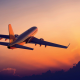 aircraft, passenger aircraft, airplane, sunset, clouds wallpaper