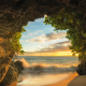 Maui, island, hawaii, nature, beach, cave, sea, sunset wallpaper