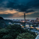 Taipei 101, Taiwan, architecture, cityscape, evening, clouds, skyscrapers, hill wallpaper