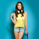 Chrissy Teigen, women, brunette, headphones, jean shorts, skateboard wallpaper