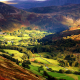 sunlight, england, nature, mountains, valley, tree, village wallpaper